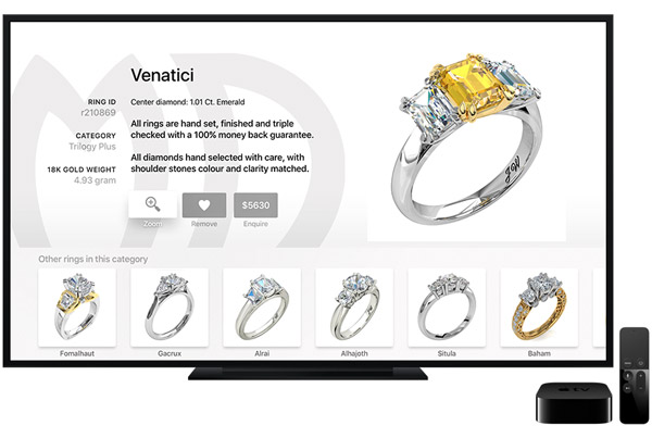 """Engagement Rings"" app for Apple TV - Ring details screen"
